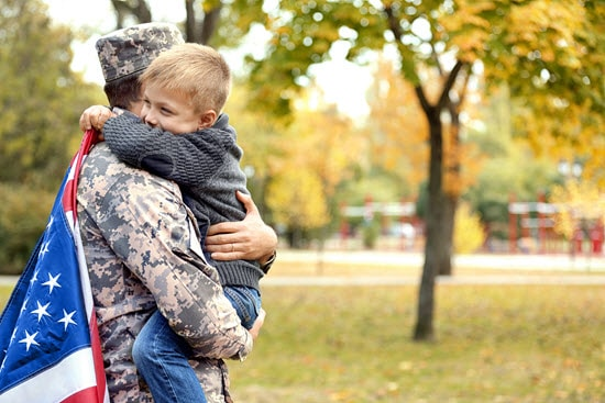soldier reunites with family